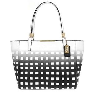 Coach Madison EastWest Tote Gingham Saffiano Black